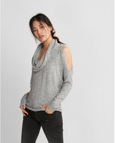Express brushed cowl neck cold shoulder tee