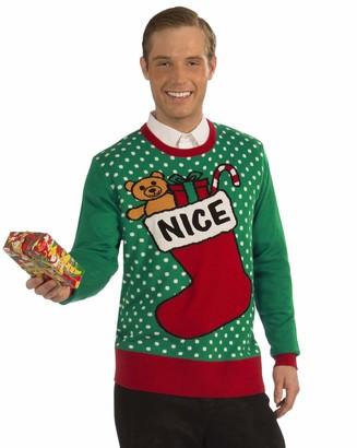 Forum Novelties Adult Extra Large Nice Stocking Ugly Christmas Sweater