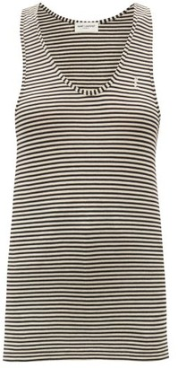 Saint Laurent Racerback Striped Jersey Tank Top - White Stripe