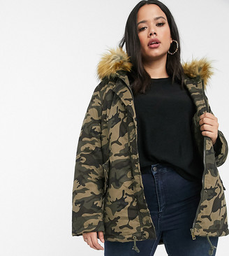 Brave Soul Plus panther parka in camo with faux fur hood trim