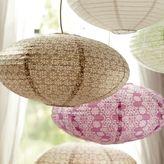Oval Paper Lantern, Taupe Leaf Geo