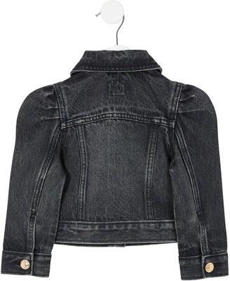 River Island Girls Puff Sleeve Denim Jacket -Black