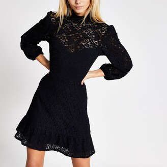 River Island Womens Black lace high neck ruffle hem mini dress