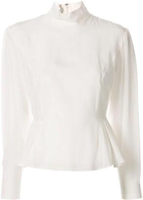 Giambattista Valli peplum long-sleeved silk blouse