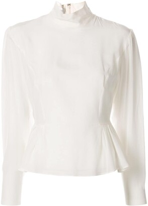 Giambattista Valli Peplum Long-Sleeved Silk Blouse