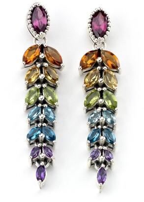 Samuel B. Sterling Silver Multi Gemstone Feather Drop Earrings
