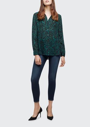 L'Agence Nina Leopard-Print Silk Georgette Top