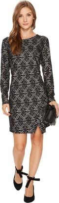 Kensie Women's Patterned Long Sleeve Ponte Dress