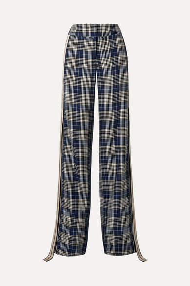 Monse Grosgrain-trimmed Checked Woven Wide-leg Pants - Navy