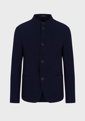 Emporio Armani Jacket With Guru Collar In Stretch Wool With 3D Motif