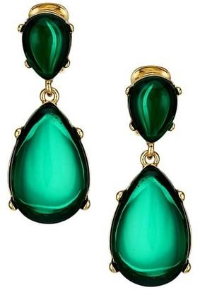 Kenneth Jay Lane Emerald Resin Double-Drop Clip-On Earrings