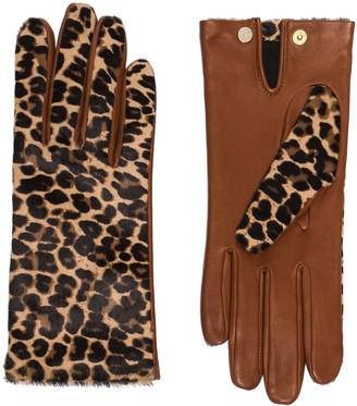 Agnelle Chloe leopard-print gloves