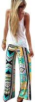 Fashion Story Women Smocked Waist Baggy Bohemian Harem Pants Palazzo Trousers