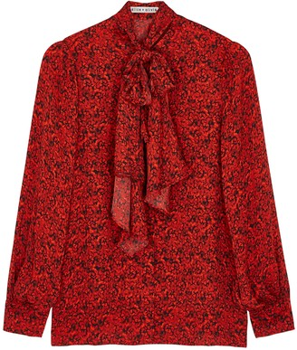 Alice + Olivia Tammy red printed blouse