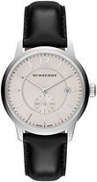Burberry Men's 40mm Classic Round Watch with Leather Strap