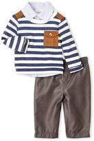 Miniclasix (Newborn/Infant Boys) 3-Piece Striped Sweatshirt, Woven Shirt & Pants Set