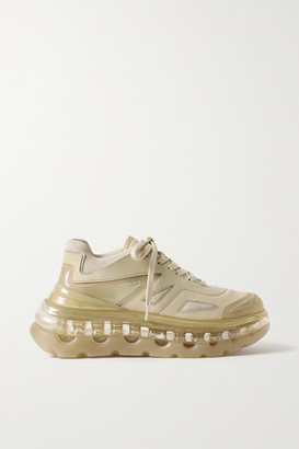 SHOES 53045 Bump Air Faux Leather, Mesh And Neoprene Sneakers - Sand