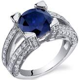 Ice 3 3/4 CT TW Lab-Created Blue Sapphire Sterling Silver Fashion Ring with CZ Accents