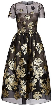 Oscar de la Renta Metallic Leaf Jacquard Tulle A-Line Dress