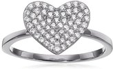 "Crislu Simply Pave"" Platinum Plated Sterling Silver Cubic Zirconia Heart Ring"