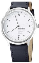 Mondaine 'Helvetica No.1 Regular' Round Leather Strap Watch, 40mm