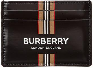 Burberry Logo Icon Stripe Canvas & Leather Card Case