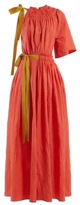 Roksanda Alvena Asymmetric Crinkled-cotton Maxi Dress - Womens - Coral