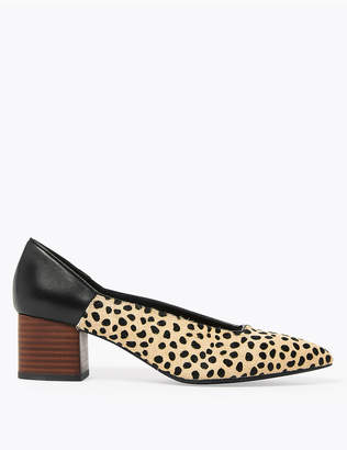 Marks and Spencer Leather Animal Print Block Heel Court Shoes