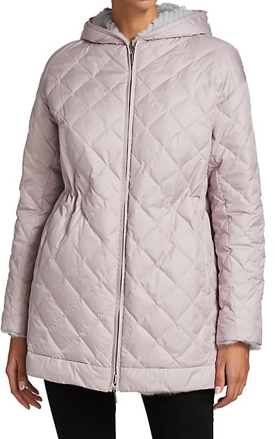 Thumbnail for your product : The Fur Salon Julia & Stella For Textured Mink Fur Reversible Quilted Down Drawstring Parka