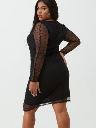V By Very Curve Spot Mesh Ruched Pencil Dress - Black