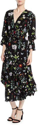 Joie Analena Pleated Floral V-Neck Midi Dress