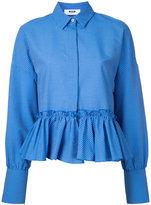 MSGM striped frill hem shirt - women - Cotton/Polyester - 42