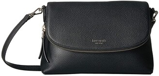 Kate Spade Polly Large Flap Crossbody (Black) Handbags