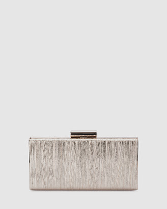 Olga Berg LUCINDA Metallic Gathered Box Clutch