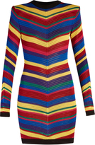 Balmain Chevron-striped knitted mini dress