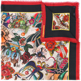 DSQUARED2 tattoo print scarf - men - Modal - One Size