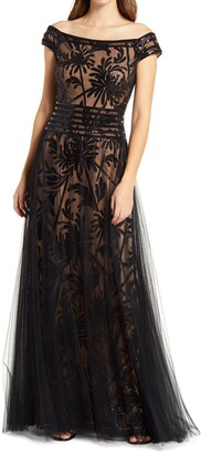 Tadashi Shoji Sequin Illusion Lace Off the Shoulder Cap Sleeve Gown