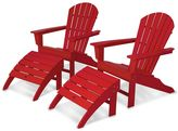Polywood 4-piece South Beach Outdoor Bright Adirondack Chair & Ottoman Set