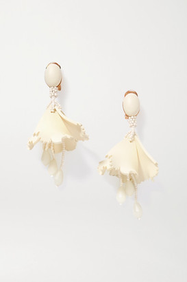 Oscar de la Renta Impatiens Gold-tone, Resin And Bead Clip Earrings - Ivory