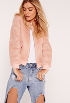 Missguided Petite Exclusive Airtex Bomber Jacket Nude