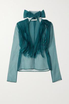Jason Wu Collection Tie-neck Ruffled Silk-blend Organza Blouse - Petrol