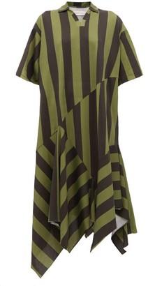 Marques Almeida Marques'almeida - Asymmetric Hem Striped Cotton Midi Dress - Womens - Khaki