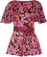 Agent Provocateur June printed silk chiffon-trimmed stretch-silk playsuit