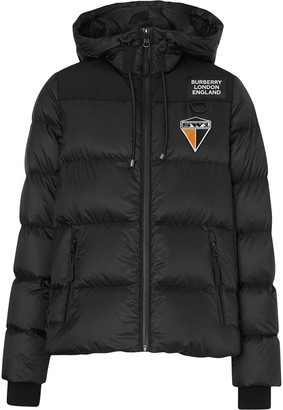 Burberry logo graphic hooded puffer jacket