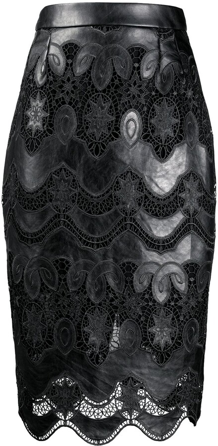 Talbot Runhof Lace Panel Skirt