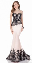 Terani Couture Two Tone Lace Applique Evening Dress