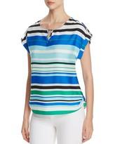 Calvin Klein Cuff Sleeve Stripe Top