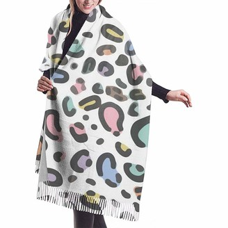 Yinyinyin.Womens Scarf Pastel Rainbow Leopard Womens Scarf Large Soft Silky Pashmina Cashmere Shawl Wrap 68 X 196 Cm