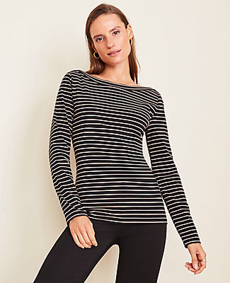 Ann Taylor Petite Striped Boatneck Luxe Tee