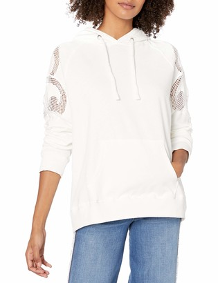 Monrow Women's Oversized Hoody w/Mesh Embroidery